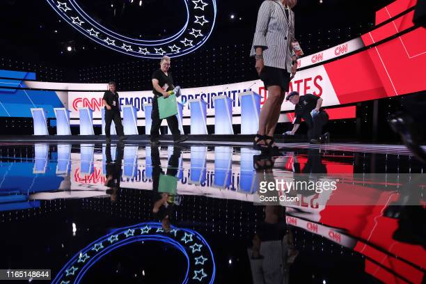 Worker prep the stage during a media briefing ahead of tonight's Democratic Presidential Debate at the Fox Theatre July 30 2019 in Detroit Michigan...