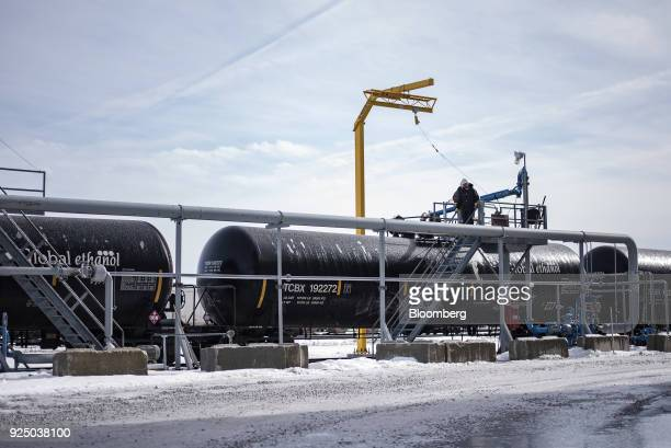 A worker prepare a train car to be loaded with ethanol at the Poet Biorefining facility in Jewell Iowa US on Wednesday Feb 21 2018 Renewable...