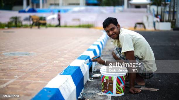 A worker prepare the Salt Lake Stadium or Yuvabharati Krirangan ahead of the FIFA U17 World Cup India 2017 tournament on October 2 2017 in Kolkata...
