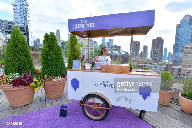 Worker prepares refreshments provided by The Glenlivet on the NYFW Roof Lounge during The Glenlivet Happy Hour at New York Fashion Week: The Shows at...