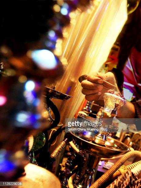 Worker prepares shisha at shisha bar Felfela in Lan Kwai Fong, Central. 21SEP11