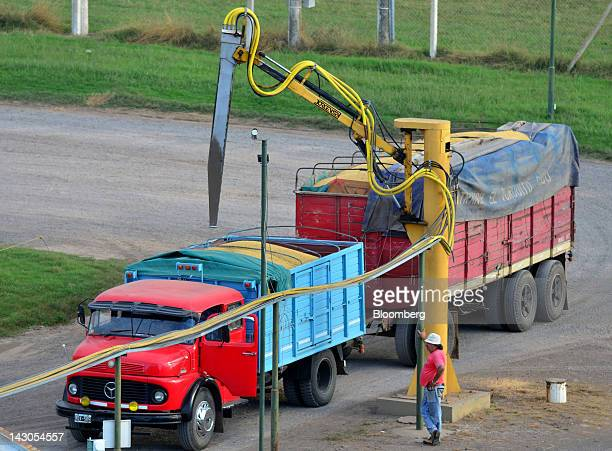 A worker prepares to take a sample from a truck filled with soybeans at the Agricultural Federation of Argentina facility near Rojas Argentina on...