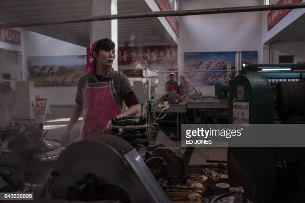 TOPSHOT A worker processes silk at the Kim Jong Suk Silk Mill in Pyongyang on February 21 2017 The Kim Jong Suk Silk Mill employs a workforce of 1600...