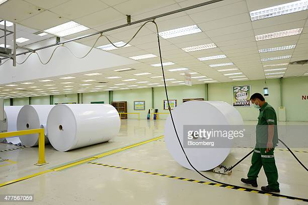 A worker pushes a roll of paper at Asia Pacific Resources International Holdings Ltd's pulp and paper manufacturing facility in Pelalawan Riau...