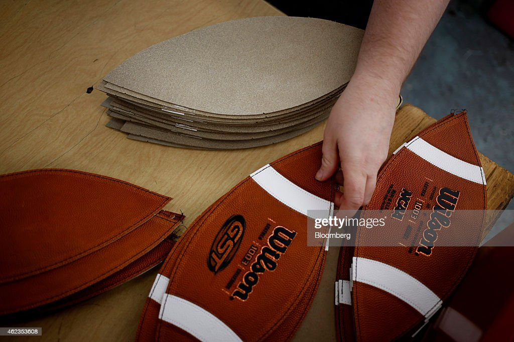 Operations At The Wilson Sporting Goods Co. Football Manufacturing Facility Ahead Of Super Bowl XLIX : News Photo