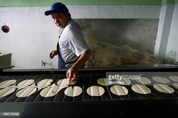 A worker removes excess corn flour dough on the conveyor belt of a machine in a tortilla bakery at the Zona Rosa in Mexico City Mexico on Monday...