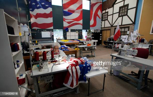 Worker sews together a new Betsy Ross flag made out of fire proof material at Colonial Flag on July 5, 2019 in Salt Lake City, Utah. The Betsy Ross...