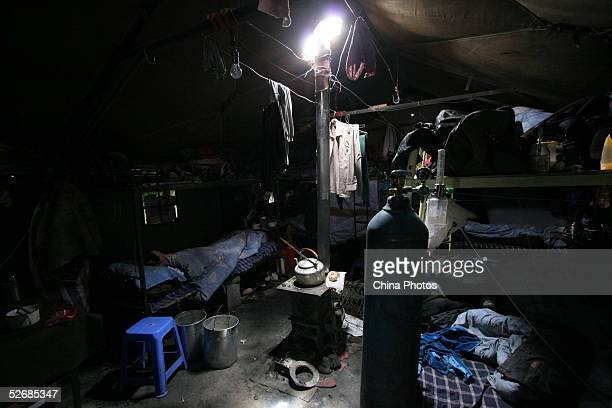 A worker sleeps at his cabin at the construction site of the 2040km long QinghaiTibet Railway at an altitude of 4900 meters outside of Lhasa April 22...