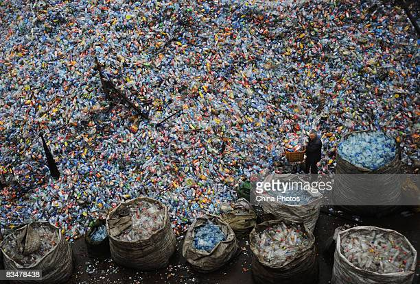 A worker sorts used plastic bottles at a plastics recycling mill which is ceasing production as the global financial crisis starts to bite in China's...