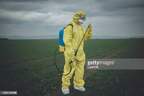 worker spraying toxic pesticides - spraying stock pictures, royalty-free photos & images