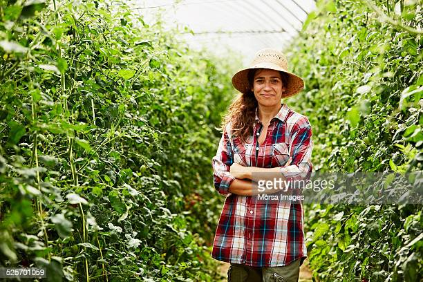 Worker standing arms crossed in greenhouse