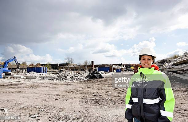 Worker standing on construction site