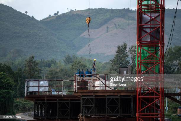 A worker stands at the construction site of the Ban Ladhan Railway bridge a section of the ChinaLaos Railway built by the China Railway Group Ltd on...