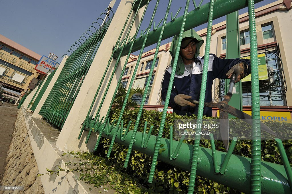 A worker trims plant behind a high iron gate protecting the commercial center in Glodok district in Jakarta on May 21, 2010