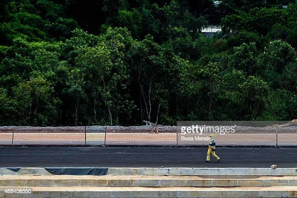 A worker walks inside the Deodoro Sports Complex for the Rio 2016 Olympic Games in Ricardo de Albuquerque neighborhood on April 2 2015 in Rio de...
