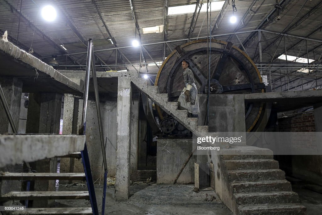 A worker walks up a concrete staircase at the Jalandhar Leather Pvt tannery in Jalandhar Punjab India on Friday Jan 20 2017 India`s 51 million micro..
