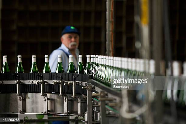 A worker watches as bottles of cider pass along a conveyor belt on the production line at the Cydr Lubelski bottling plant operated by Ambra SA in...
