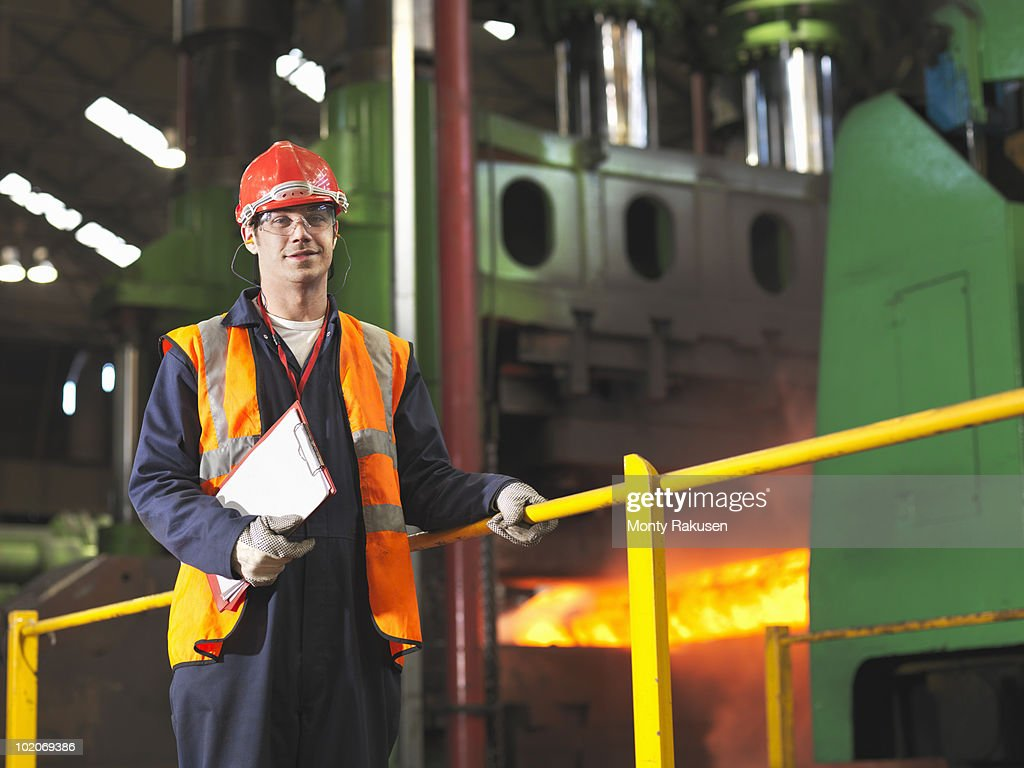 Worker With Steel Forge : Stock Photo