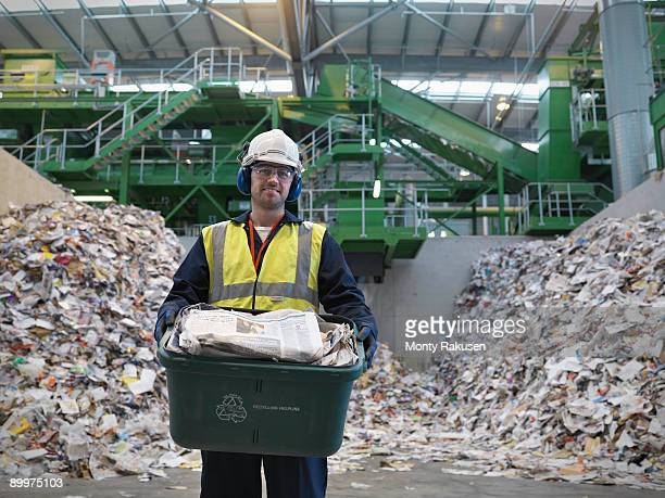Worker With Waste Recycling Box