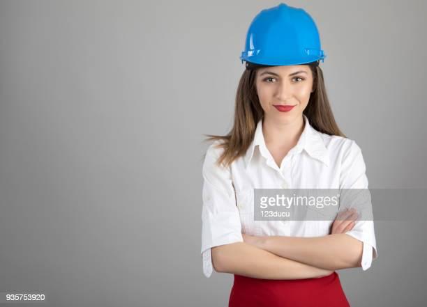 Worker Woman With Blue Helmet