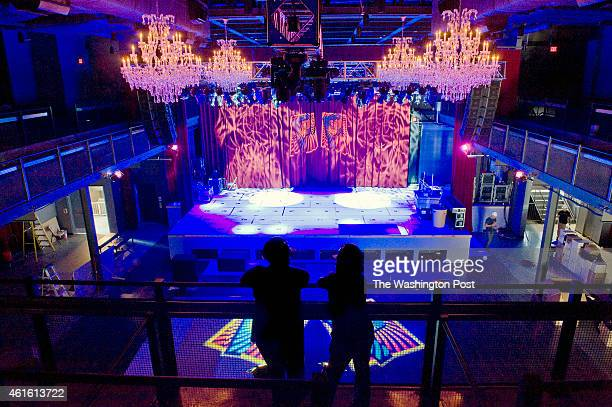 Workers admire their handiwork during a lighting test of the stage in the long awaited Fillmore nightclub almost finished and set to open next month...