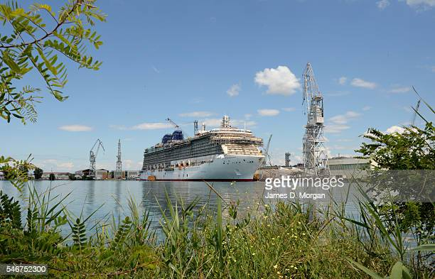 Workers and crew building the latest ship for the PO fleet on July 17 2014 in Monfalcone Italy Britannia is the latest ship and has all the latest...