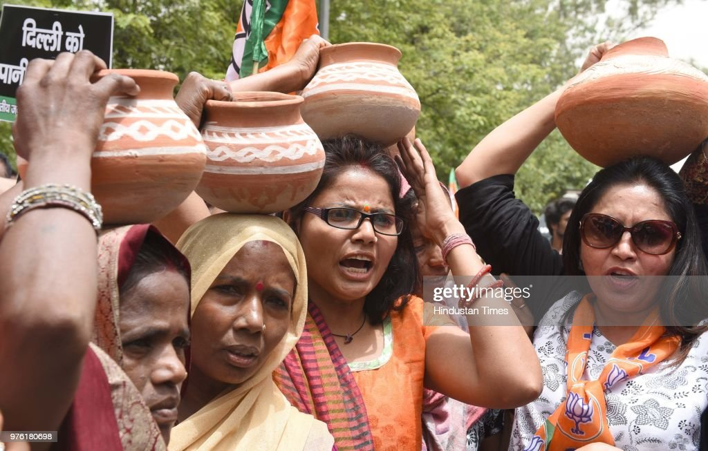 Delhi BJP Protests Outside Delhi Secretariat Over Water Crisis