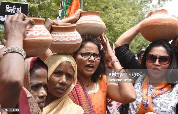 BJP workers and supporters protest against water crisis in West Delhi area at Delhi Secretariat on June 16 2018 in New Delhi India