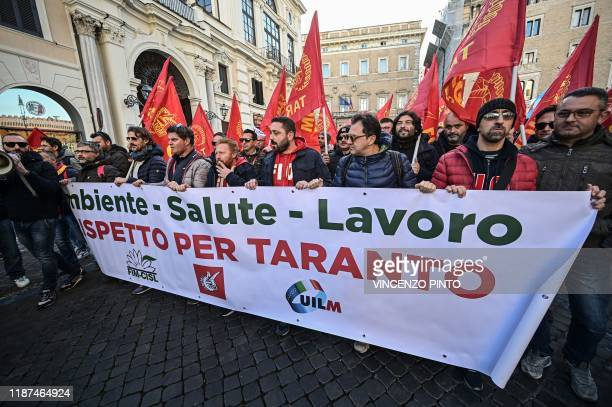 Workers and unions from all sectors coming from all over Italy particularly from the South gather for a protest in downtown Rome on December 10...