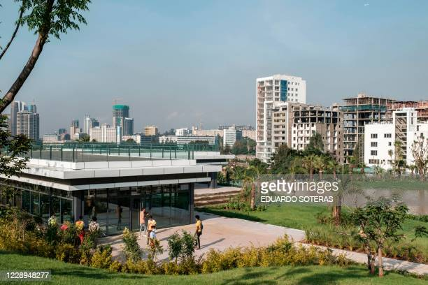 Workers are pictured at the Friendship Square in the city of Addis Ababa, Ethiopia, on September 22, 2020. - For the past year, workers have been...