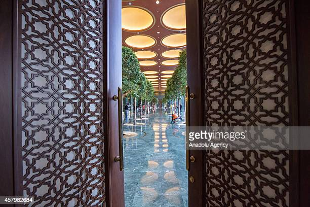 Workers are seen inside the Turkey's new Presidential Palace built inside Ataturk Forest Farm and going to be used for Turkey's 91st Republic Day...