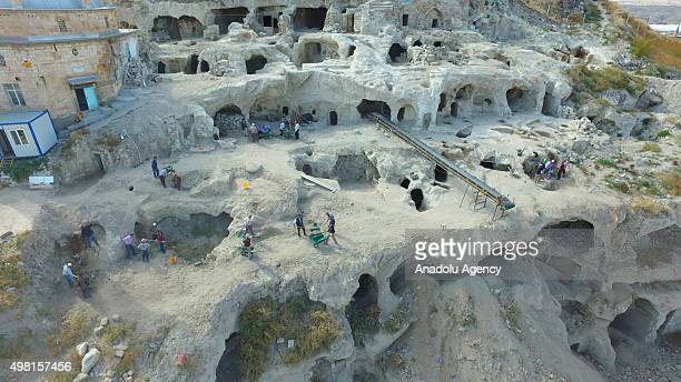 Workers are seen on duty at the underground city newly discovered during a construction work in Central Anatolian province of Nevsehir Turkey on...
