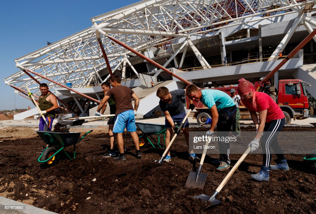 Workers are seen on the construction site of Samara Arena on August 23, 2017 in Samara, Russia.