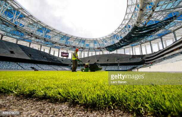 Workers are seen on the construction site of the Nizhny Novgorod stadium on August 26 2017 in Nizhny Novgorod Russia