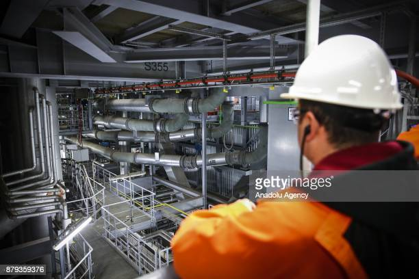 Workers are seen on their duty at RWE AG Eemshaven Power Plant in Groningen the Netherlands on November 26 2017 As the one of Europe's most important...