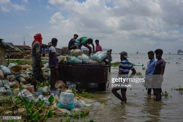 Workers are seen rebuilding the river dam. The flood situation is worsening in Munshiganj. Due to the heavy rain, the water level of the Padma River...
