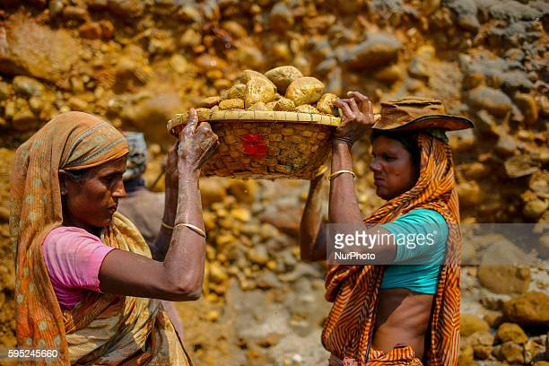 Workers are working in a stone mine iat Jaflong Sylhet on March 18 2016