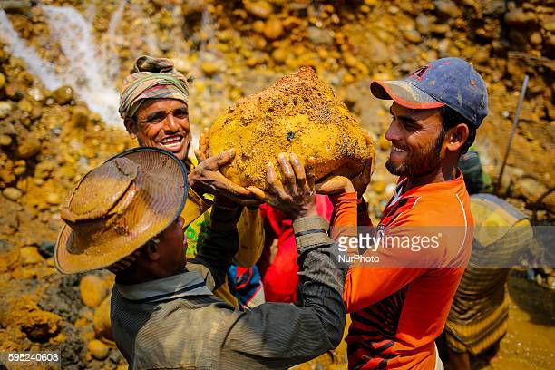 Workers are working in a stone mine on March 18 2016