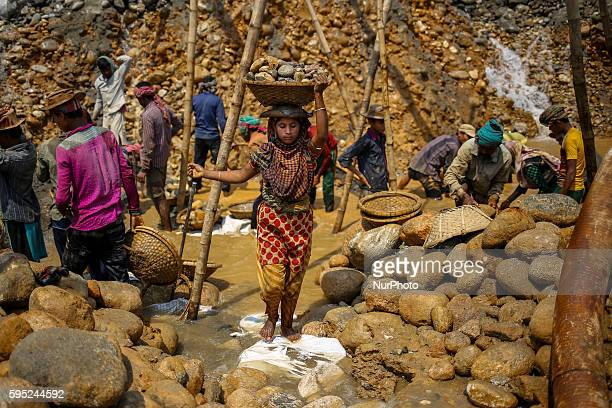 Workers are working in stone mine at Jaflong Sylhet on March 18 2016