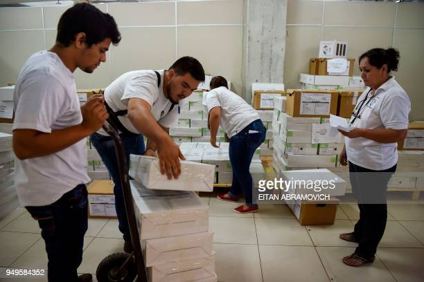 Workers arrange voting material ahead of the upcoming April 22 presidential elections in Asunción on April 21 2018 Opinion polls give the ruling...