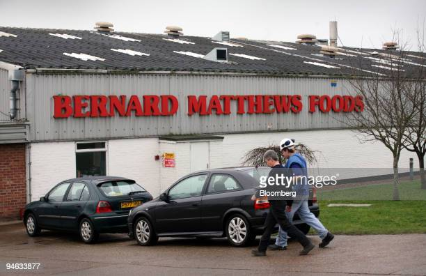 Workers arrive at a Bernard Matthews food processing factory at Great Witchingham in Norfolk Tuesday Feb 20 2007 Up to 500 workers are expected to be...