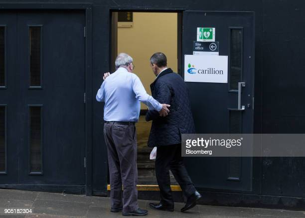 Workers arrive at the Arundel Great Court development operated by Carillion Plc in London UK on Monday Jan 15 2018 Carillion a UK construction...