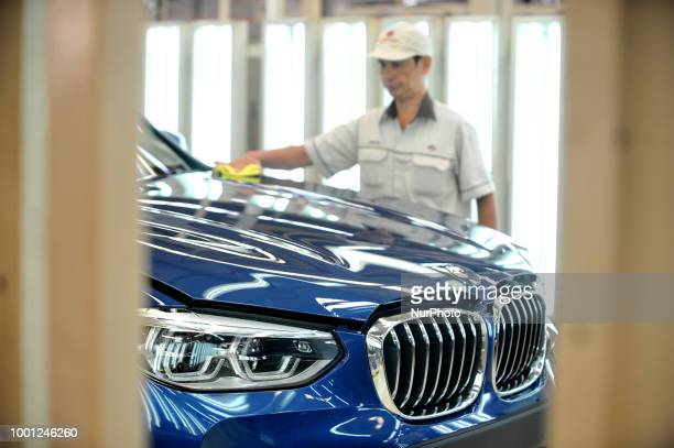 Workers assembly BMW X3 at PT Gaya Motor manufacture in Jakarta Indonesia on July 18 2018 BMW X3 is a sports activity vehicle assembly by PT Gaya...