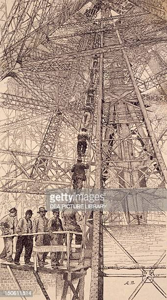 Workers assending the tower during the construction of the Eiffel Tower for the Paris World Fair 1889 France 19th century
