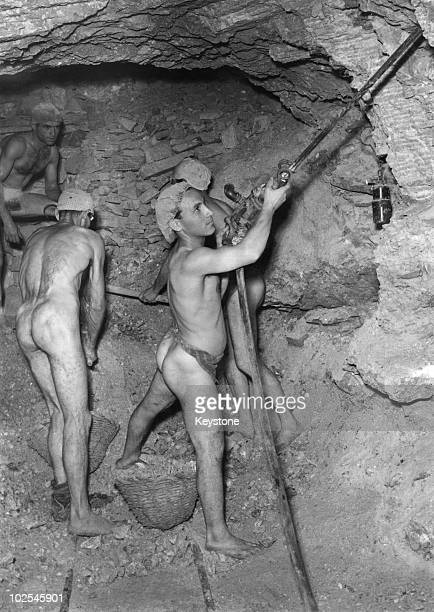 Workers at a sulfur mine in Caltanissetta Sicily 8th October 1952