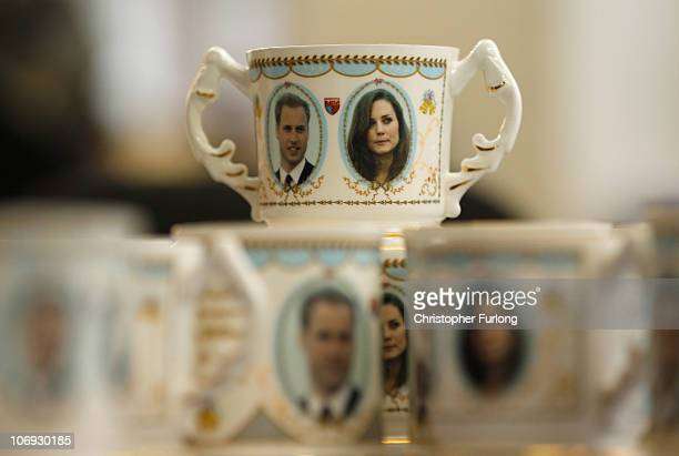 Workers at Aynsley China start producing commemorative plates cups and mugs to mark the engagement between Britain's Prince William and Kate...