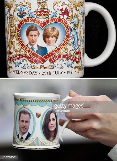 In this composite image a comparison has been made between mugs made in celebration of the Royal Weddings of Prince Charles Prince of Wales and Lady...