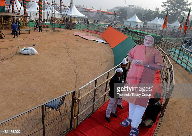 BJP workers at BJP's 'Abhinandan' rally at Ramlila Maidan in New Delhi