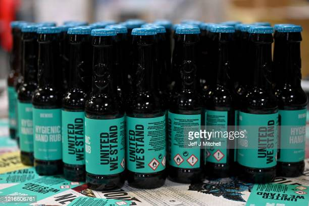 Workers at BrewDog brewery pack hands sanitiser being produced at the plant on April 03 2020 in Ellon Scotland Scotland based brewery BrewDog have...