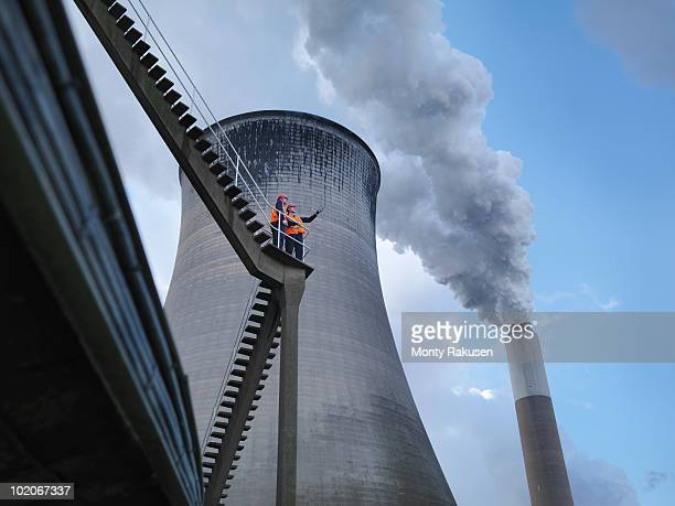 workers at coal fired power station - power station stock pictures, royalty-free photos & images